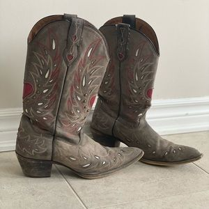 Laredo ladies grey and red cowboy boots